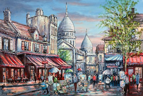 Place Do Terte, Paris by Phillip Bissell - Original Painting on Box Canvas